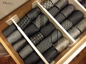 how to organize a tie drawer
