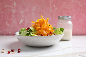 We Polished off Aunt Ruchy's Sweet Potato Chips Salad. Sure, you can make it all year if you like, but this salad is absolutely perfect for Pesach.